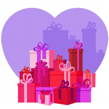 Flat mountain gifts and presents boxes illustration