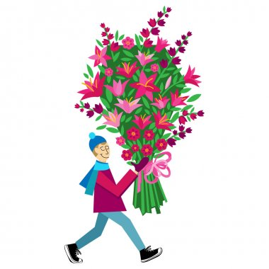 Flat illustration with guy buying bouquet of flowers