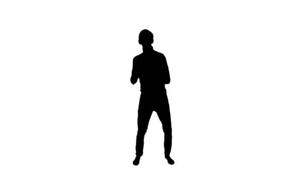 Silhouette of a dancing man on a white background.