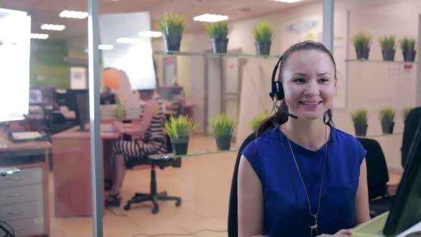 G Call Centre Agent Working In Bright Office Helpline Support U2014 Stock Video