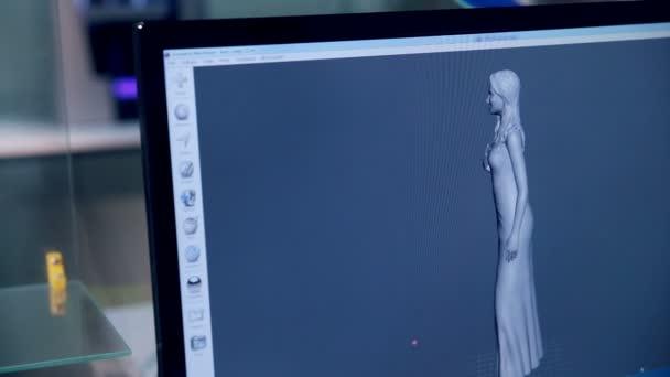 3D tiskárna funguje, takže postava člověka z plastů