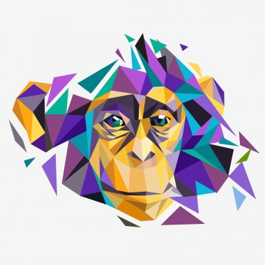 Cute polygon monkey face