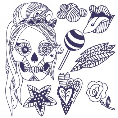 tattoo set music icon girl scull