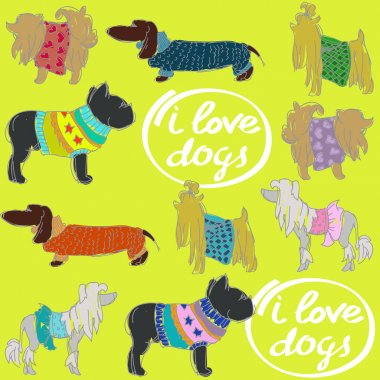dogs set with text
