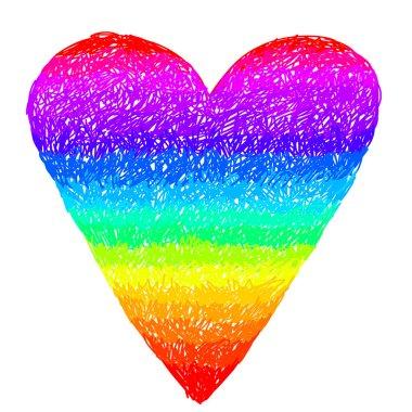 Doodle rainbow heart