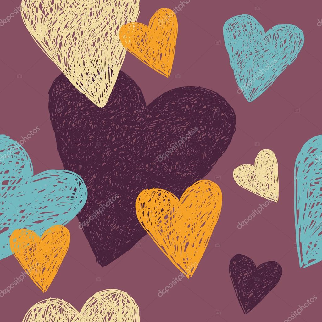 Linear sketch with colorful hearts, seamless vector love background clipart vector