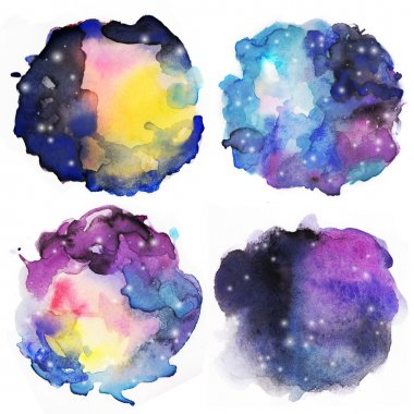Set of watercolor colorful stains