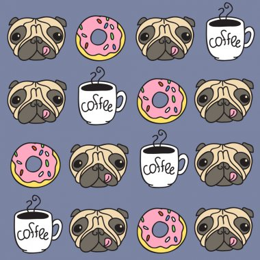 Funny pug puppies with donuts