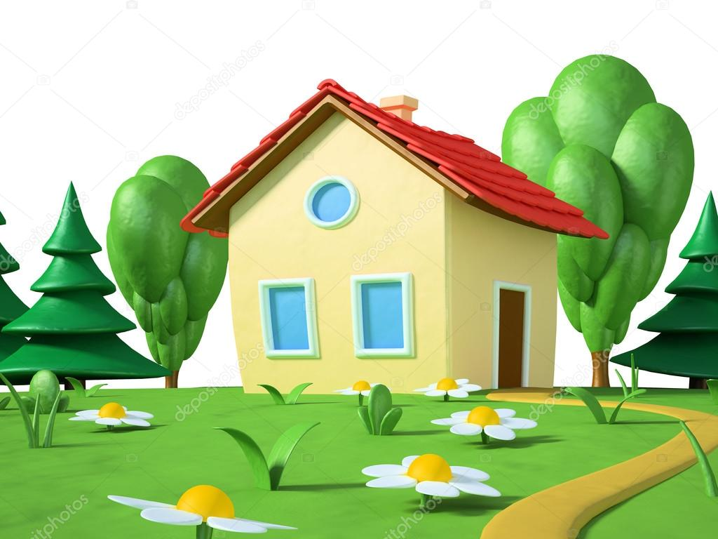 Farmhouse Building Plans Funny Cartoon House From Plasticine 2 Stock Photo