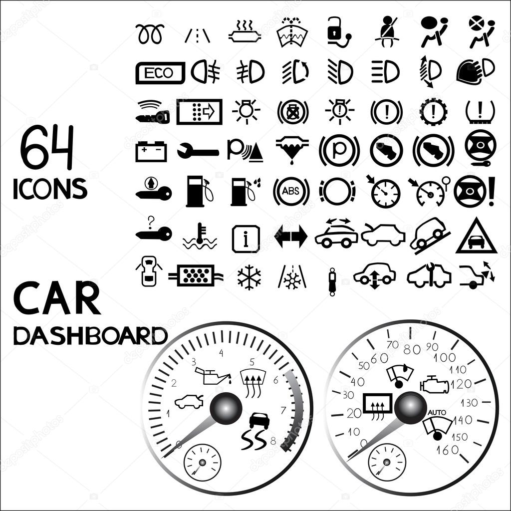 car dashboard icons stock vector 123134884. Black Bedroom Furniture Sets. Home Design Ideas