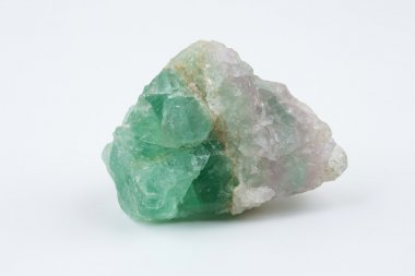 Green fluorite. Mineral natural stone on a white background.