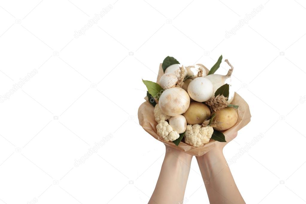 Strauß Farben Hand Früchte Gemüse Hintergrund bank — Stockfoto ...