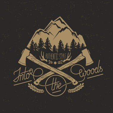 Artwork for wear with forest, axe, trees, deer horns.