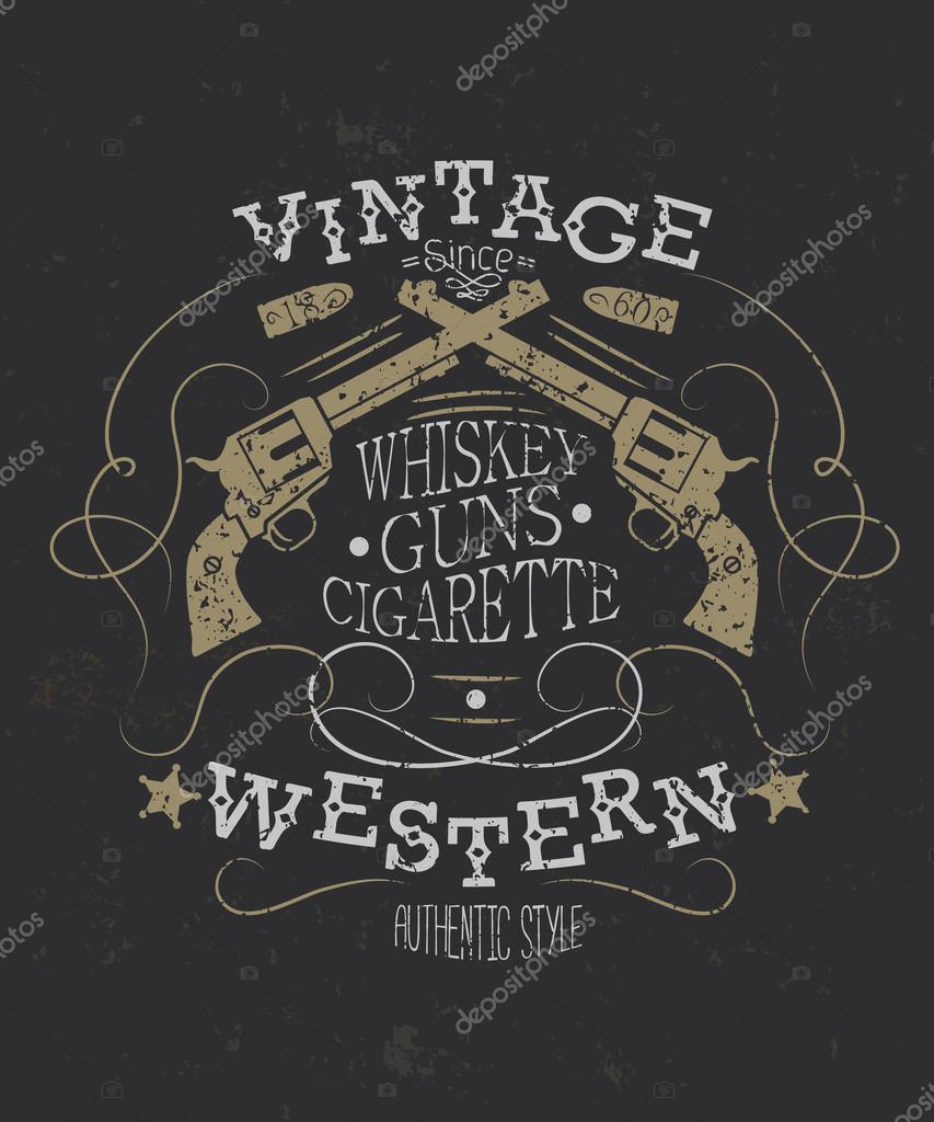 Retro style western poster with revolver.