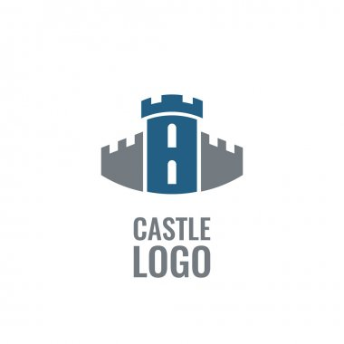 Castle, fortress vector logo. Tower architecture icon.