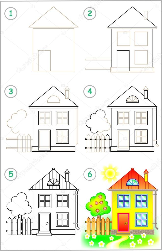 cara menggambar sekolah sd yang mudah