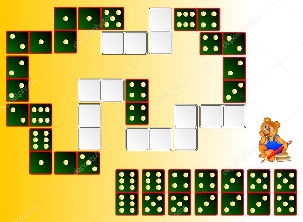 Logik-Puzzle. Zeichnen Sie die restlichen Dominosteine an den ...