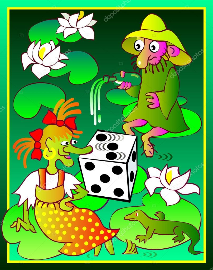 Illustration of witch and dwarf playing dice in the marsh.