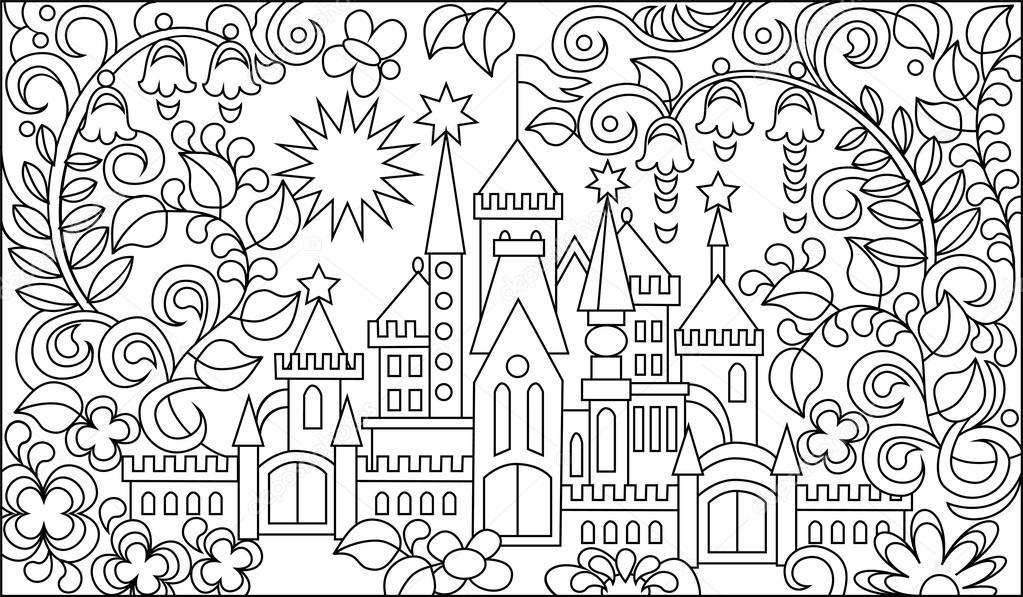 ilustração a preto e branco do castelo de conto de fadas para