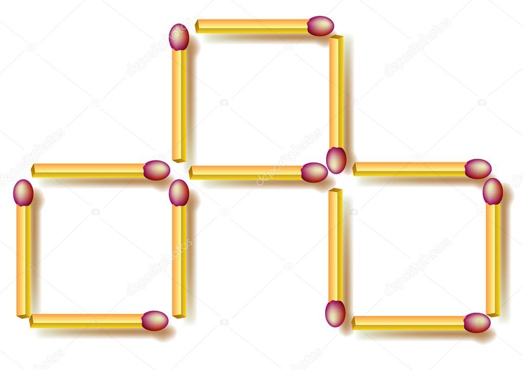 Puzzle de lógica. Mueve tres fósforos para hacer siete cuadrados ...