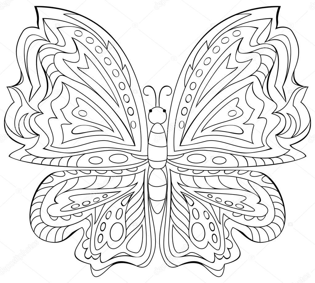 Blanco y negro ilustración de mariposa para colorear — Vector de ...
