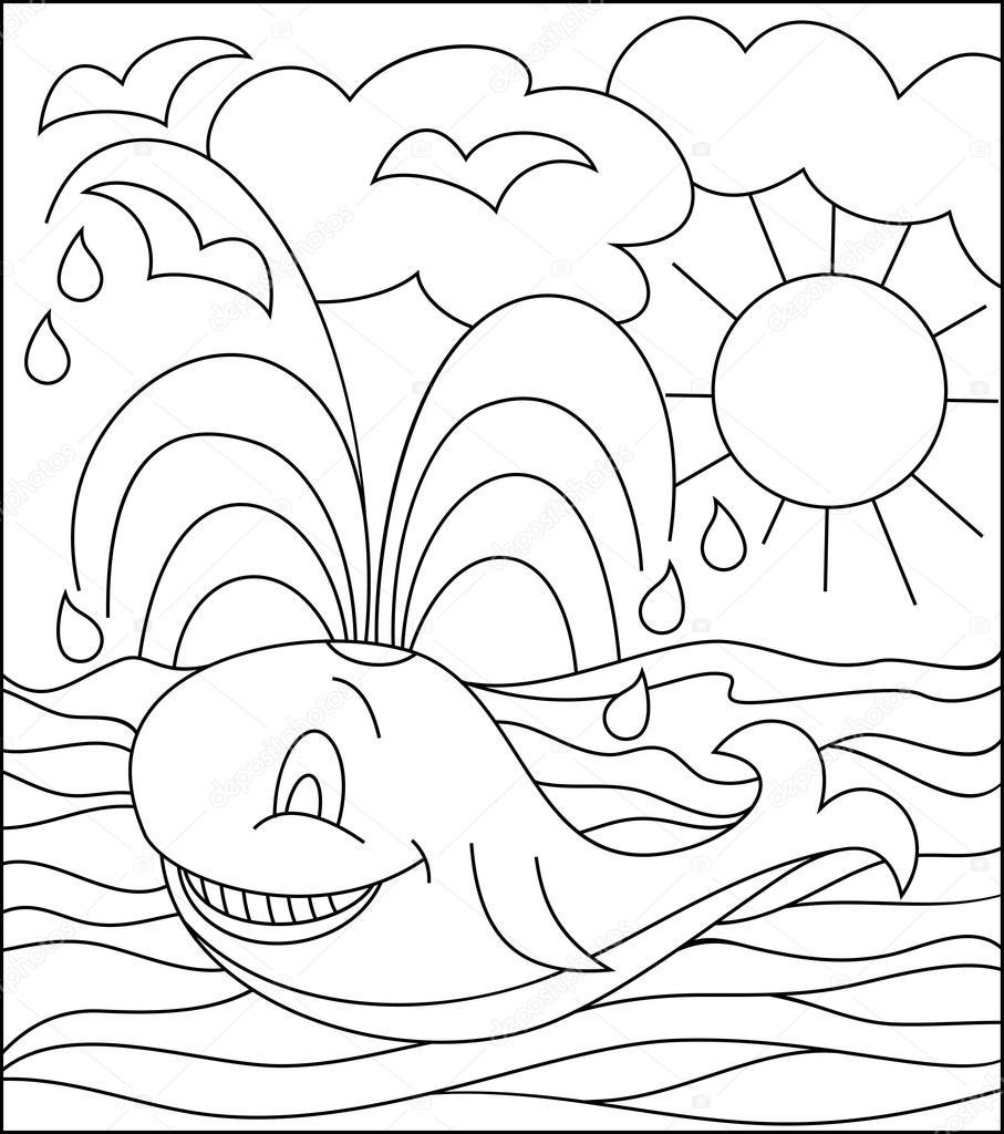 Ilustración blanco y negro de la ballena para colorear — Archivo ...