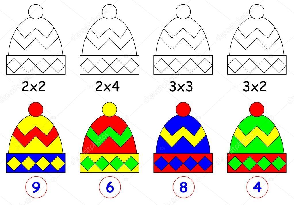 Ejercicio para los niños con multiplicación. Pintar cada tapa en el ...