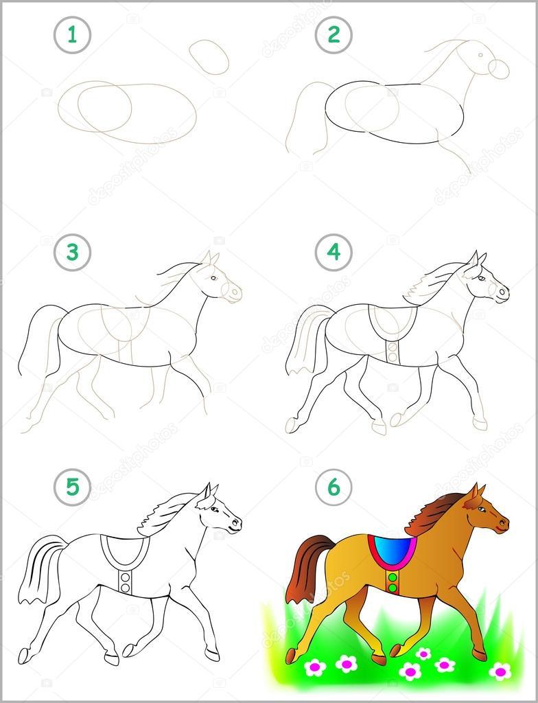 Voorkeur Pagina toont hoe te leren stap voor stap tekenen van een paard &TR52