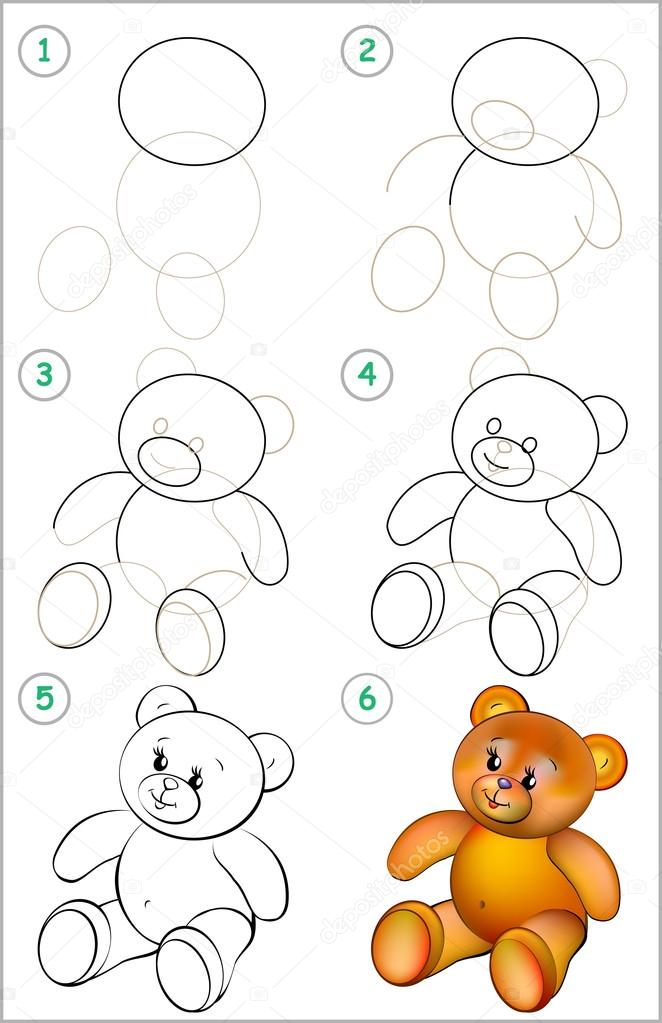 Página muestra cómo aprender paso a paso a dibujar un oso de peluche ...