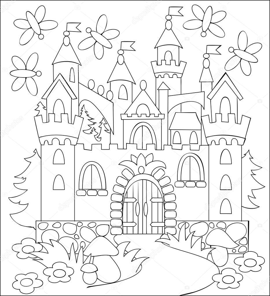ilustração a preto e branco do castelo medieval de conto de fadas