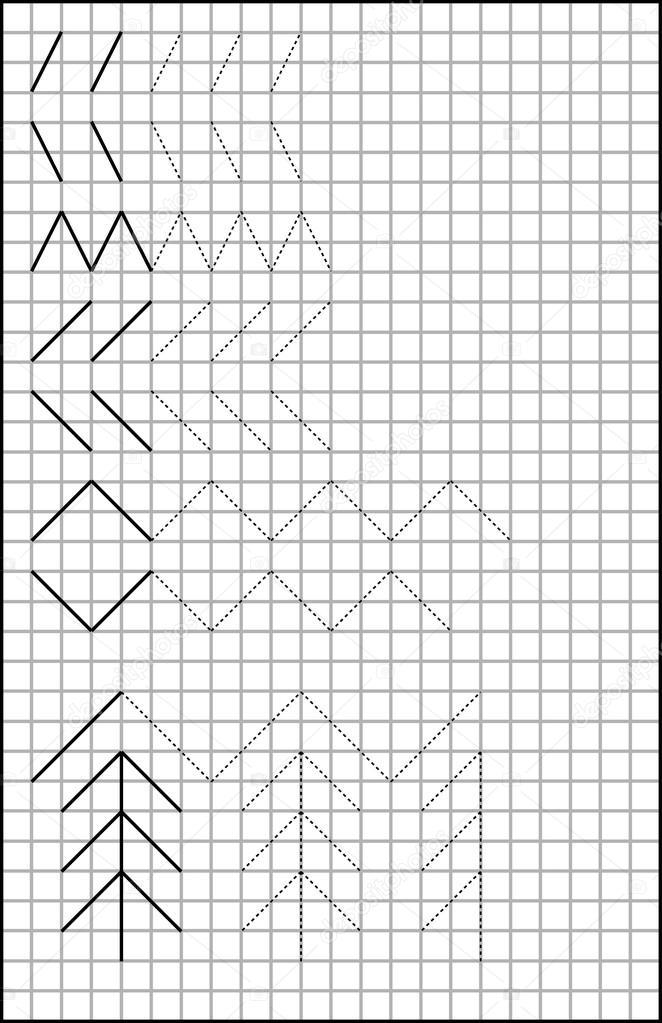 Pädagogische Seite mit Übungen für Kinder auf einem quadratischen ...