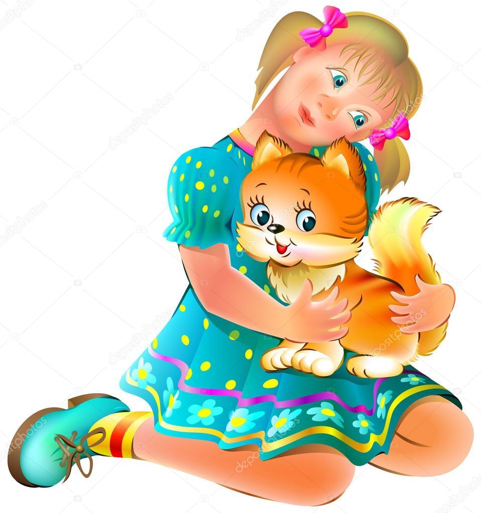Ilustración de chica y jengibre divertido gato, vector de la imagen ...