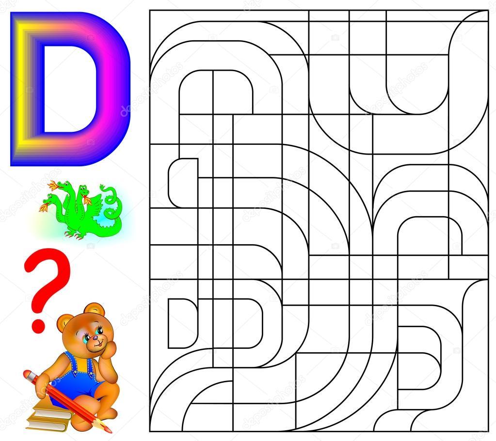 Pädagogische Seite mit Buchstaben D für Studie Englisch. Logik ...