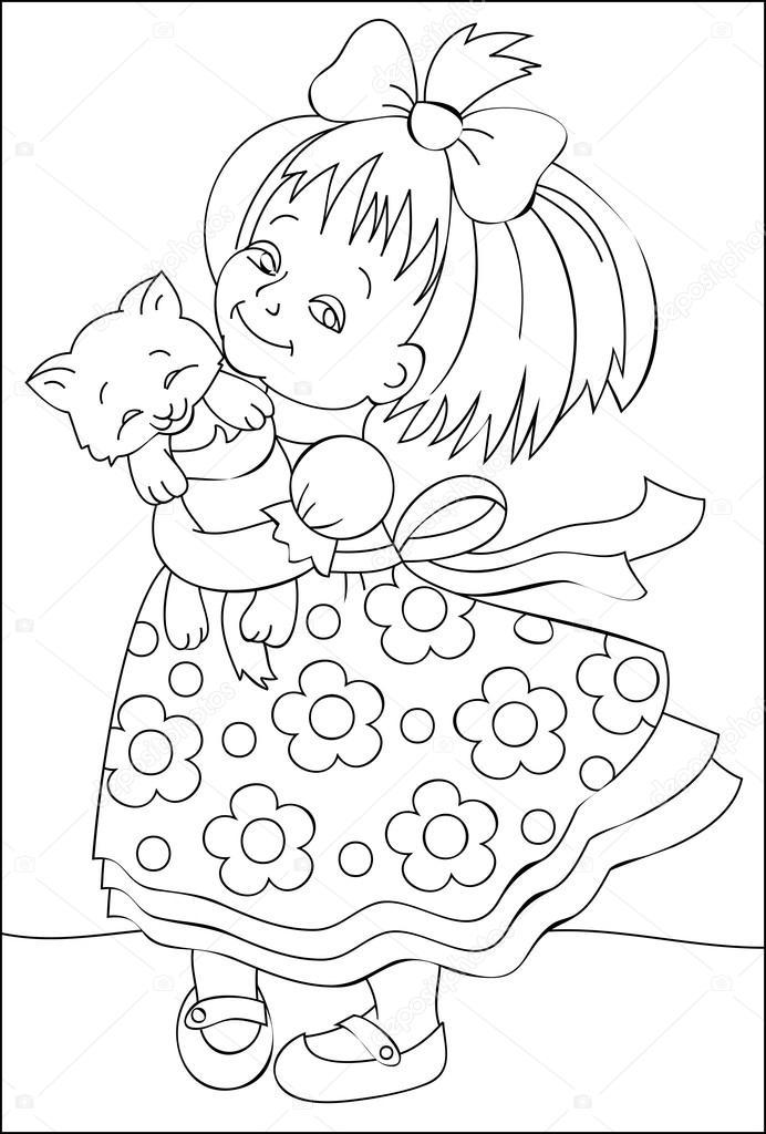 Página con ilustración blanco y negro de niña para colorear ...