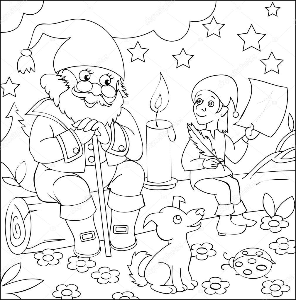 Pagina con illustrazione in bianco e nero dei nani per la - Disegni in bianco per la colorazione ...