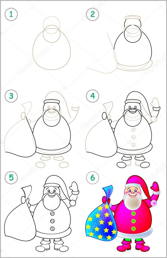 Page Shows How To Learn Step By Step To Draw Santa Claus Stock Vector