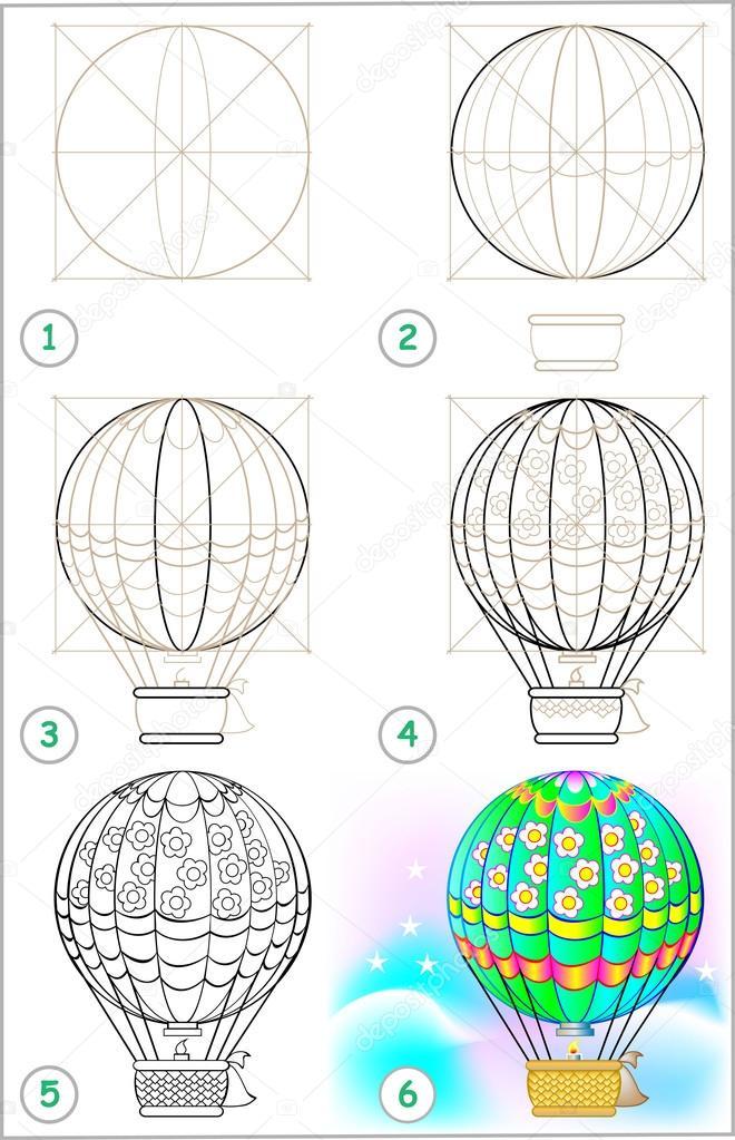 Página muestra cómo aprender paso a paso a dibujar un globo de aire ...