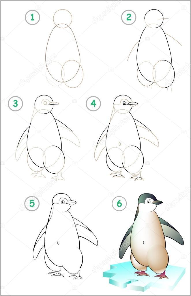 Seite Zeigt Wie Sie Schritt Fur Schritt Lernen Einen Pinguin Zu