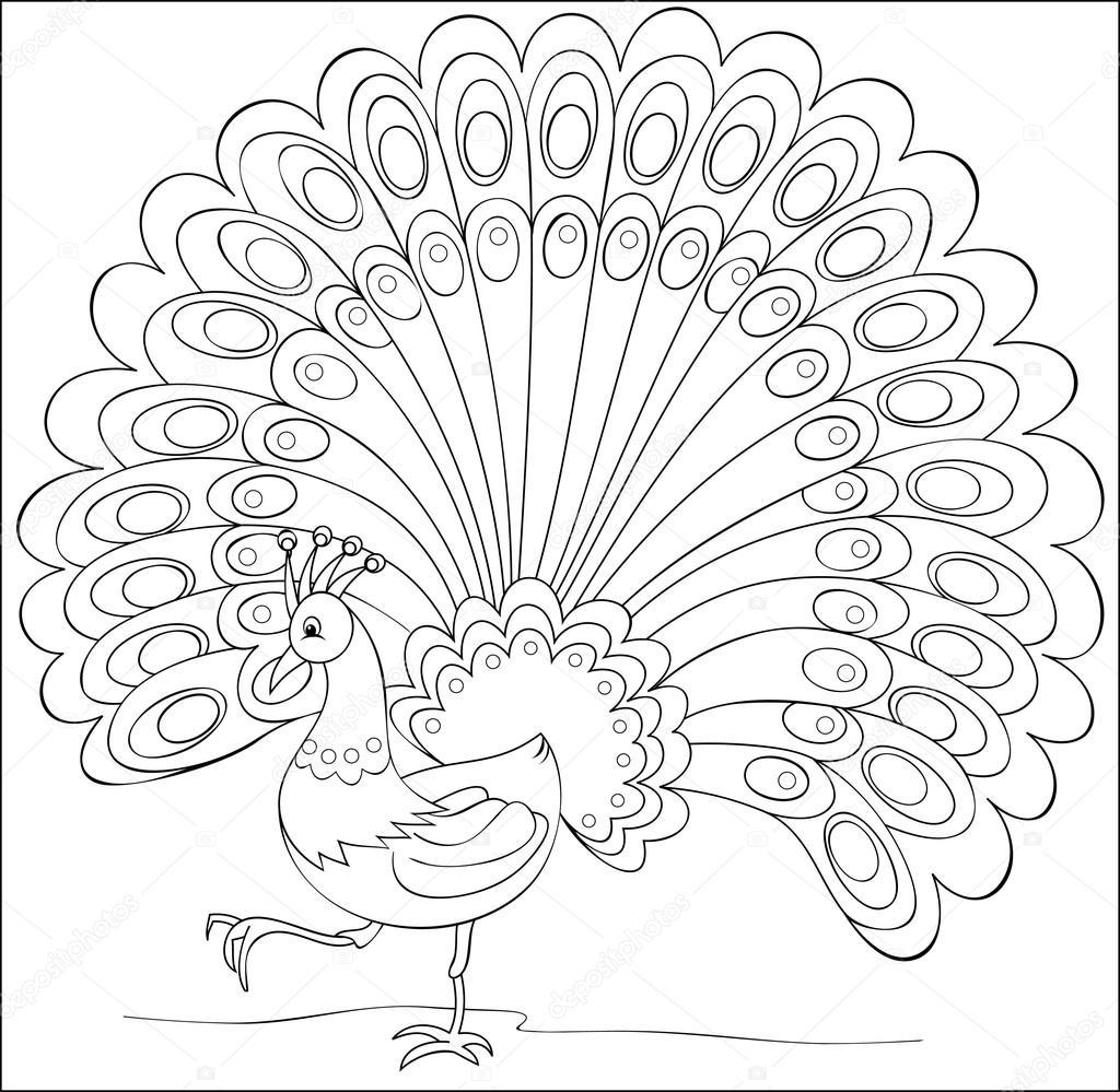 Siyah Ve Beyaz çizimi Fantezi Tavus Kuşu Boyama Sayfası Stok