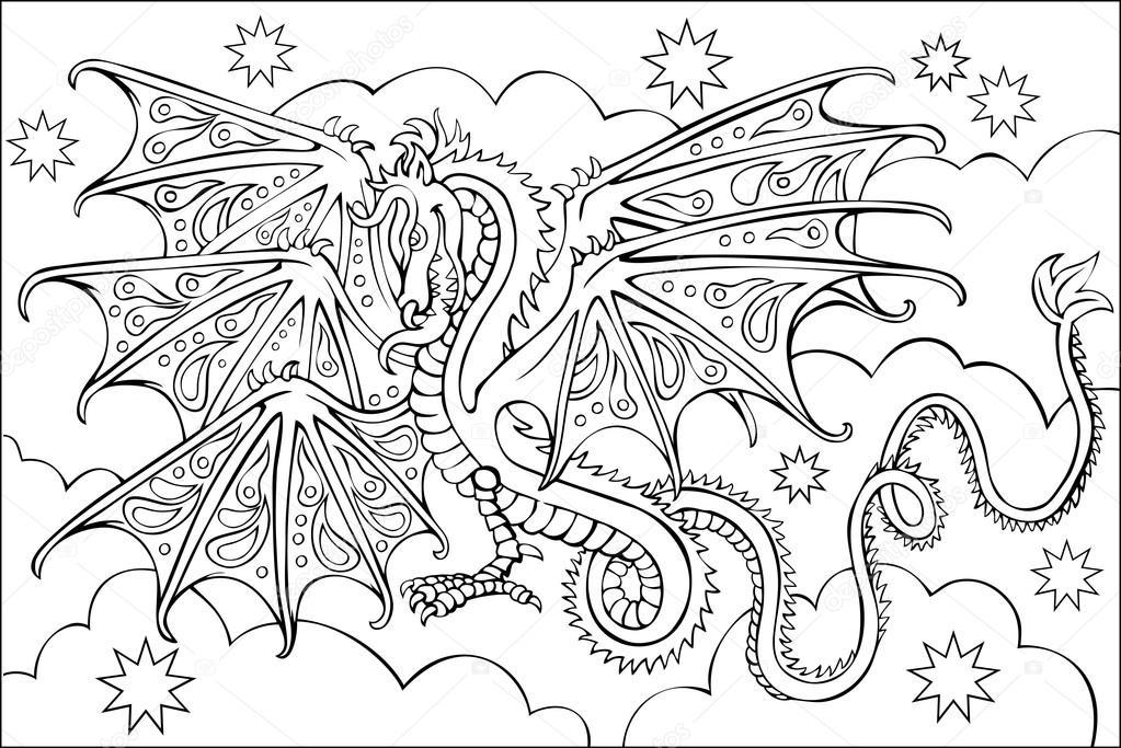 Mandalas De Dragones Para Colorear Descargar Imprimir Y: Dibujos: En Blanco Y Negro Para Colorear