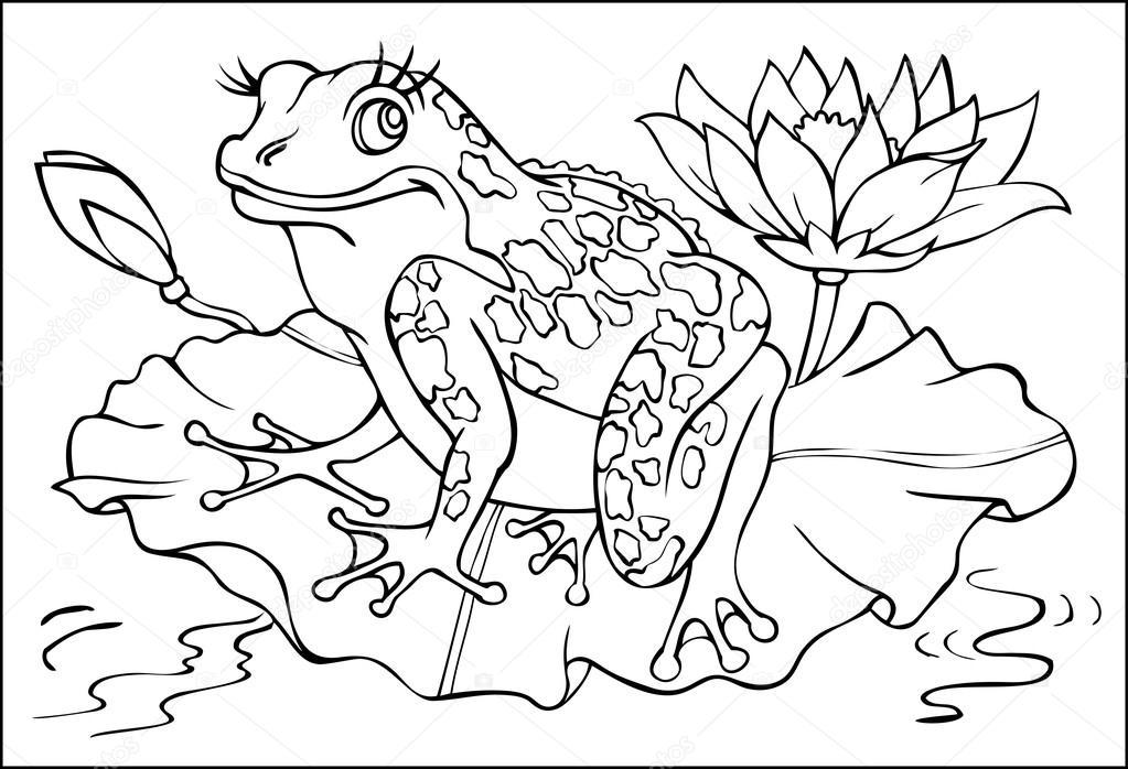 Página con ilustración blanco y negro de rana para colorear — Vector ...