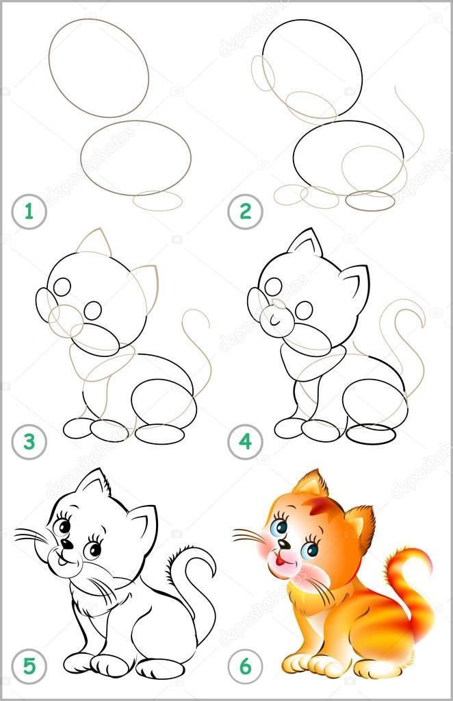 Como Dibujar Un Gatito Bebe Paso A Paso Página Muestra Cómo