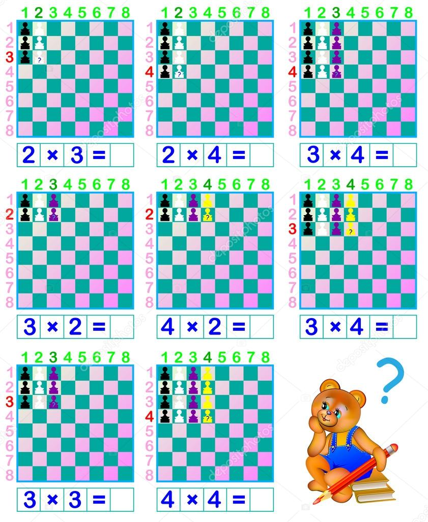 Funny chess. Exercises for children with multiplication. — Stock ...