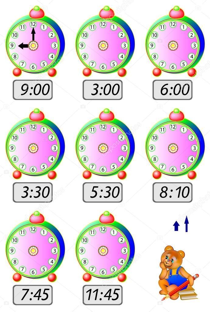 Manecillas Del Reloj Caricatura Ejercicios Para Los Niños