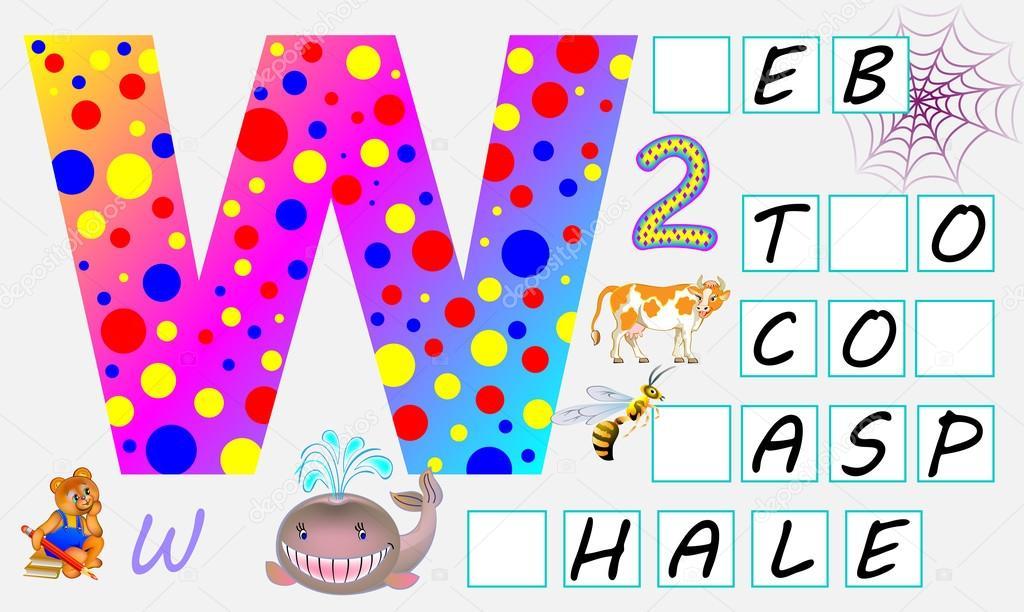 Pädagogische Seite für Kinder mit Buchstaben W für Studie Englisch ...