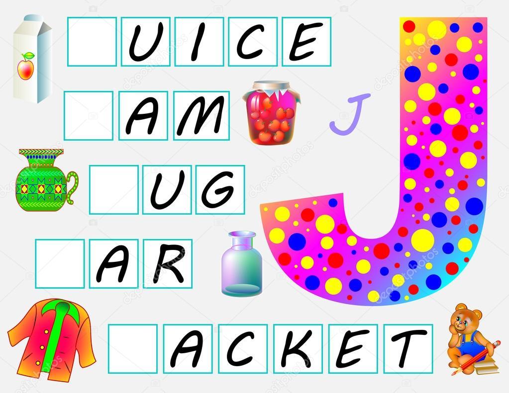 Página educativa para niños con la letra J para estudiar inglés ...