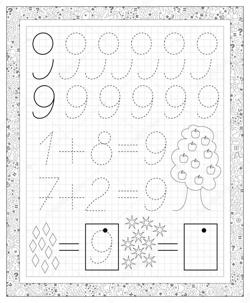 Schwarz / weiß-Arbeitsblatt auf einem quadratischen Papier mit ...