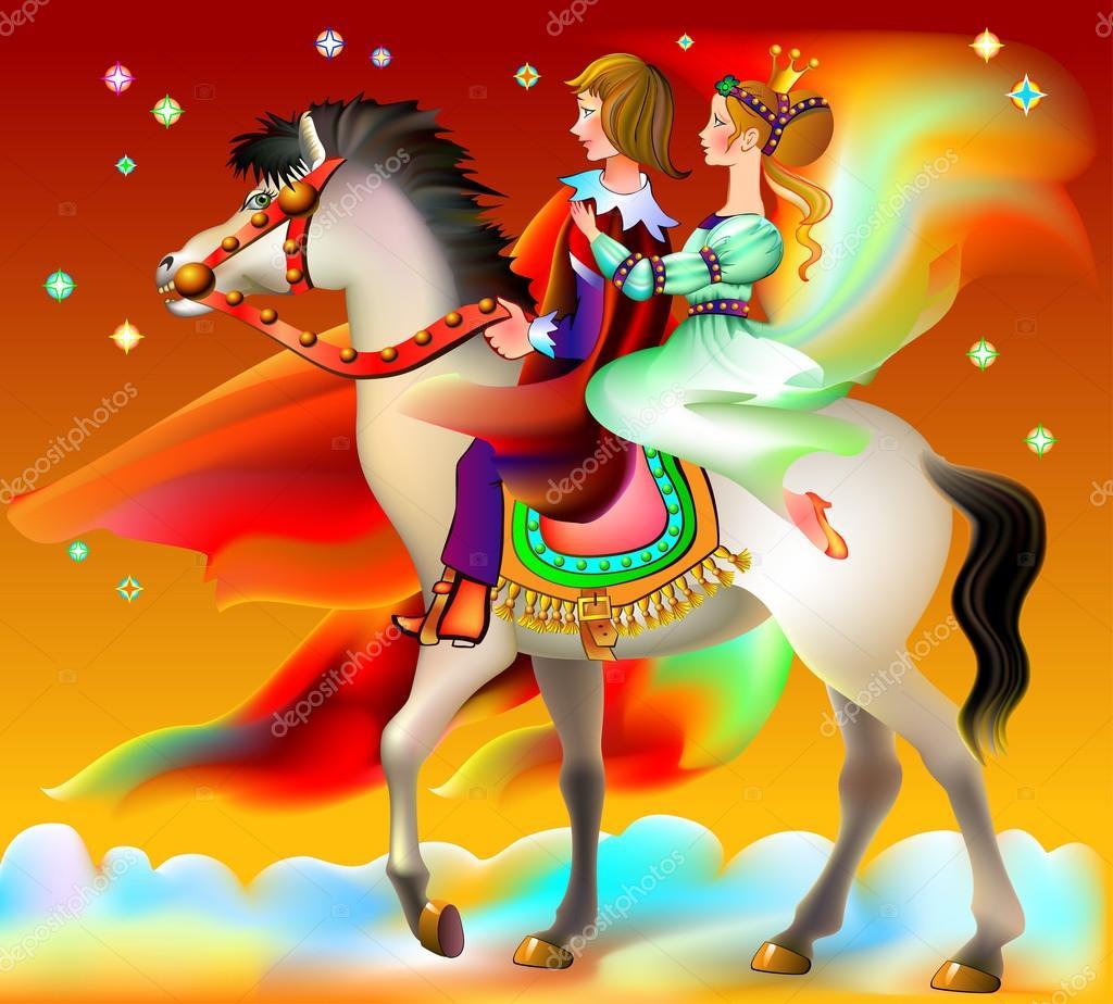 Ilustración del príncipe y de príncipes a caballo del montar a ...