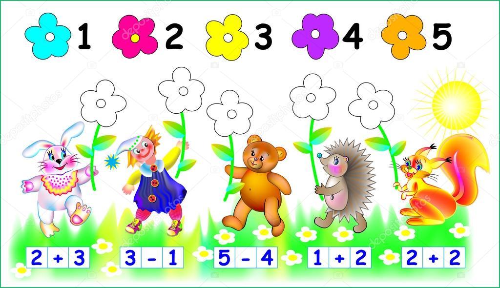 Ejercicios para niños - necesita para pintar las flores en el color ...