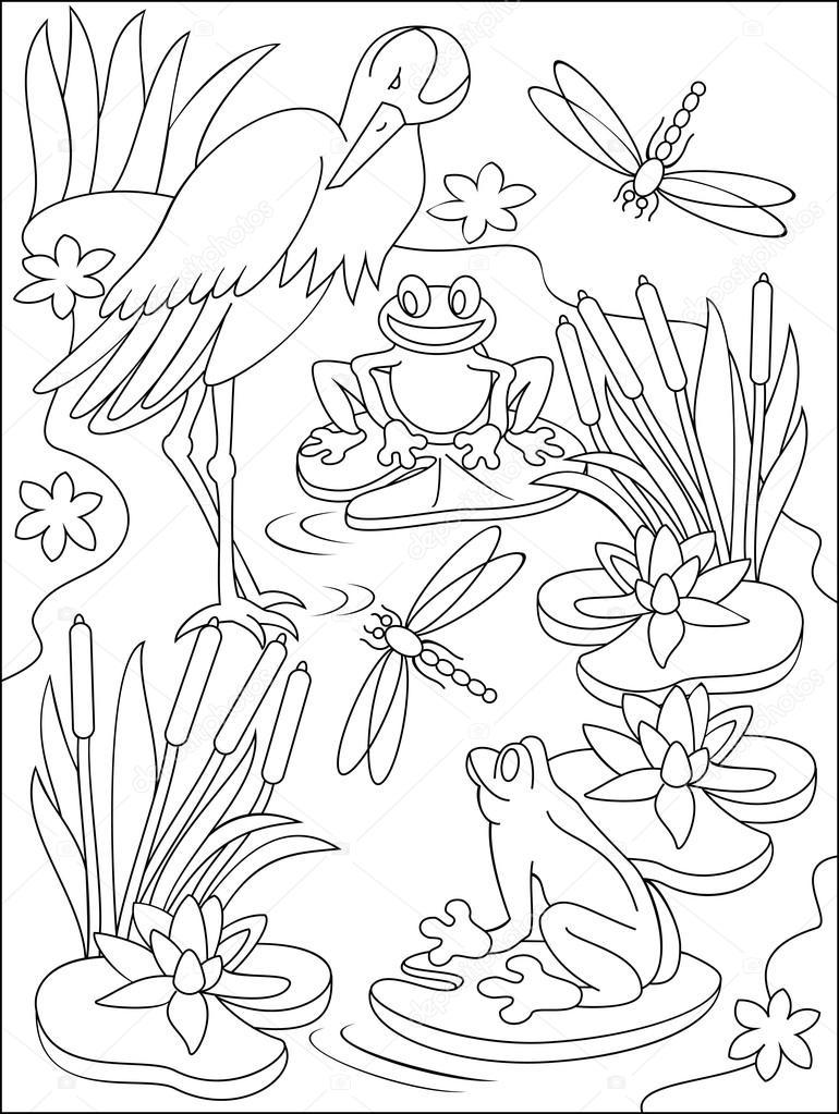 Página con ilustración blanco y negro del pantano para colorear ...
